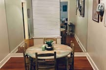 Our dining space, which guests may use to eat, as a work space, or to relax.