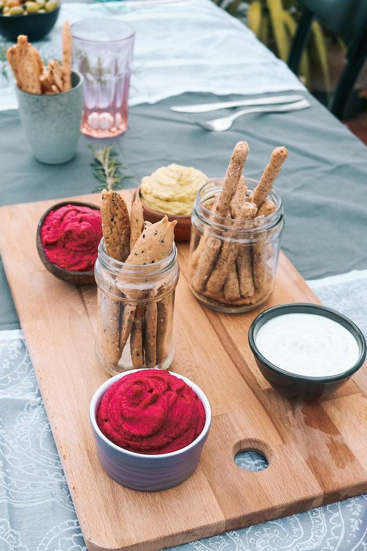 homemade humus, tzatziki,  beetroot dip