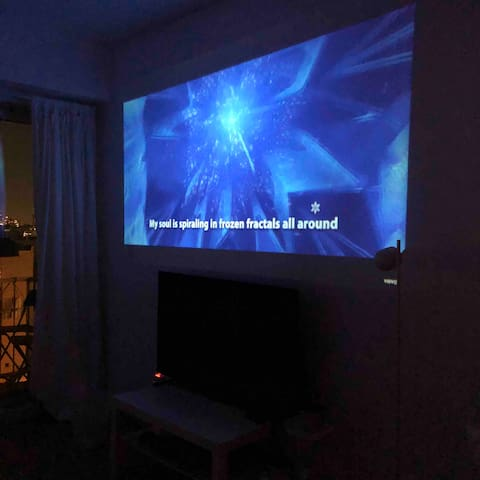 Added home theater projector. The tv is not working temporarily.