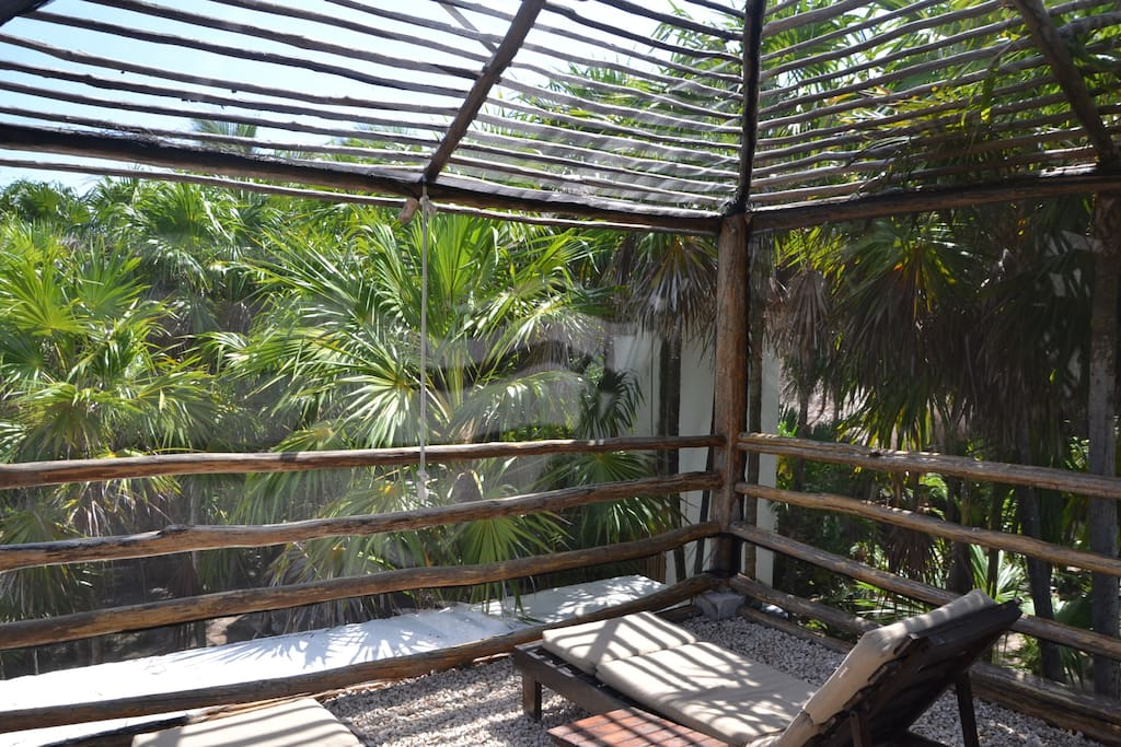 The upstairs Terrace of your Room, Solarium surrounded by the Jungle.
