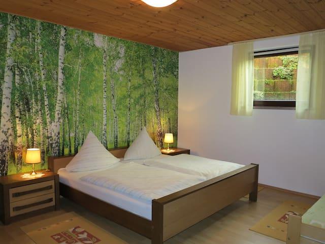 Schlafzimmer 1: 1 Doppelbett, 1 Einzelbett, 5-Türen Schrank, Kommode mit Spiegel.