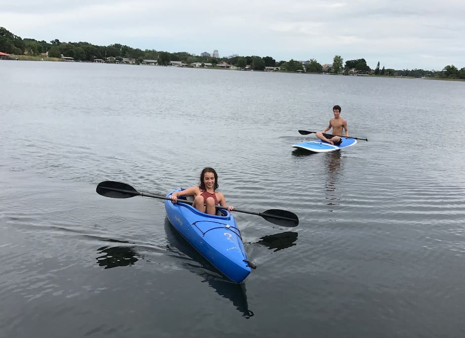 Complimentary kayaks and paddle board are available for exploring the lake. Lake Holden is one of the cleanest lakes in the area, so go ahead and jump in for a swim too!