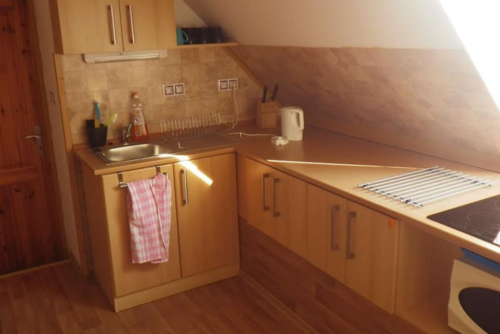 Kuchyňka - varná deska, konvice, mikrovlnná trouba, lednička Kitchen - basic equipment included