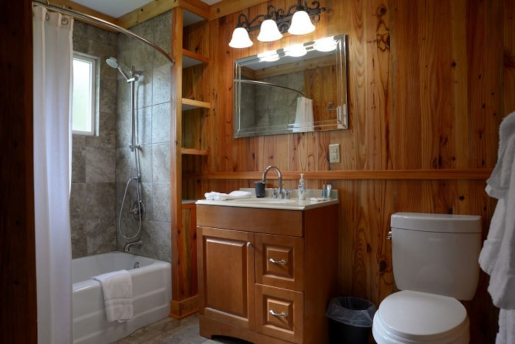 Custom bath with Heart of Pine Walls.
