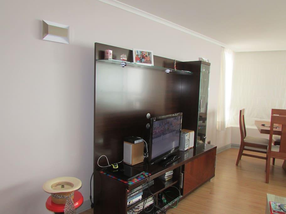 Televisor con Direct TV , equipo de música, e internet
