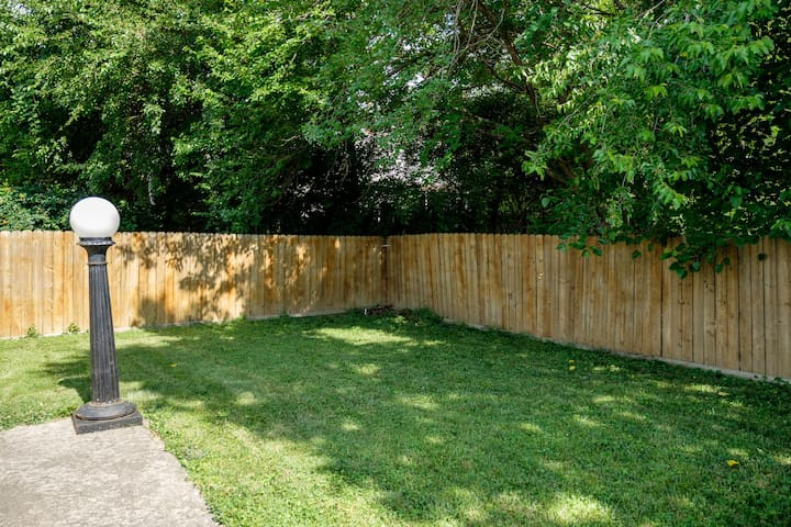 private fenced off back-yard
