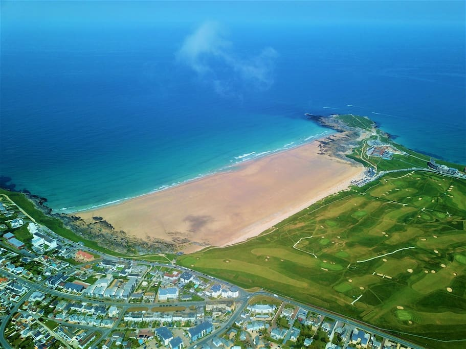 ~ Aerial shot of Fistral bay, Newquay Golf course, just a brief walk from the Sanctuary ~