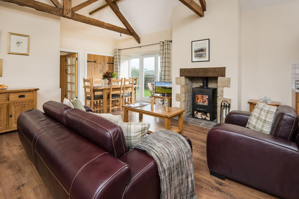 Original beams, wood-burning stove, soft throws - a brilliant place to relax.