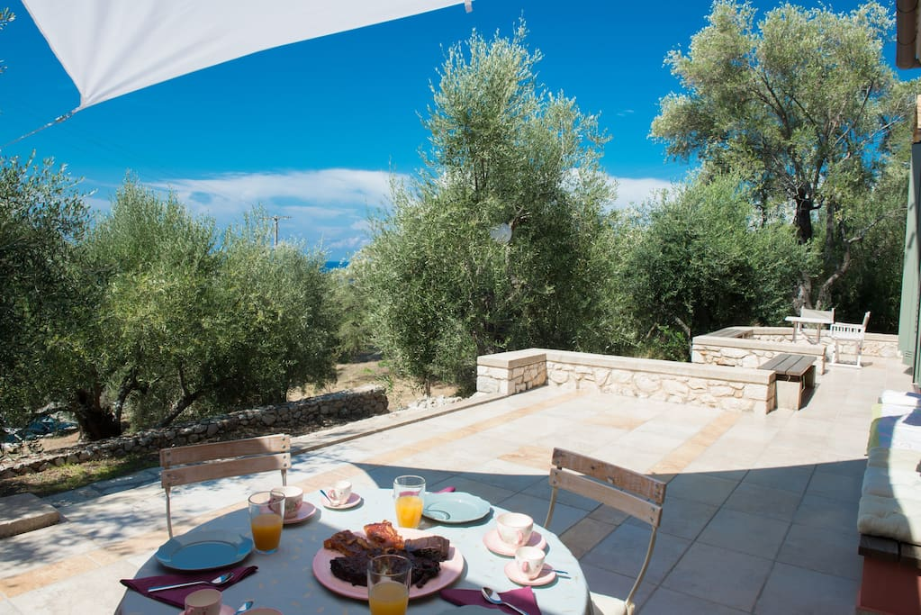 Our property sits in extensive olive tree-specked grounds overlooking the bay of Agios Nikitas .