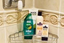 Shower gel, shampoo and conditioner provided for our guests