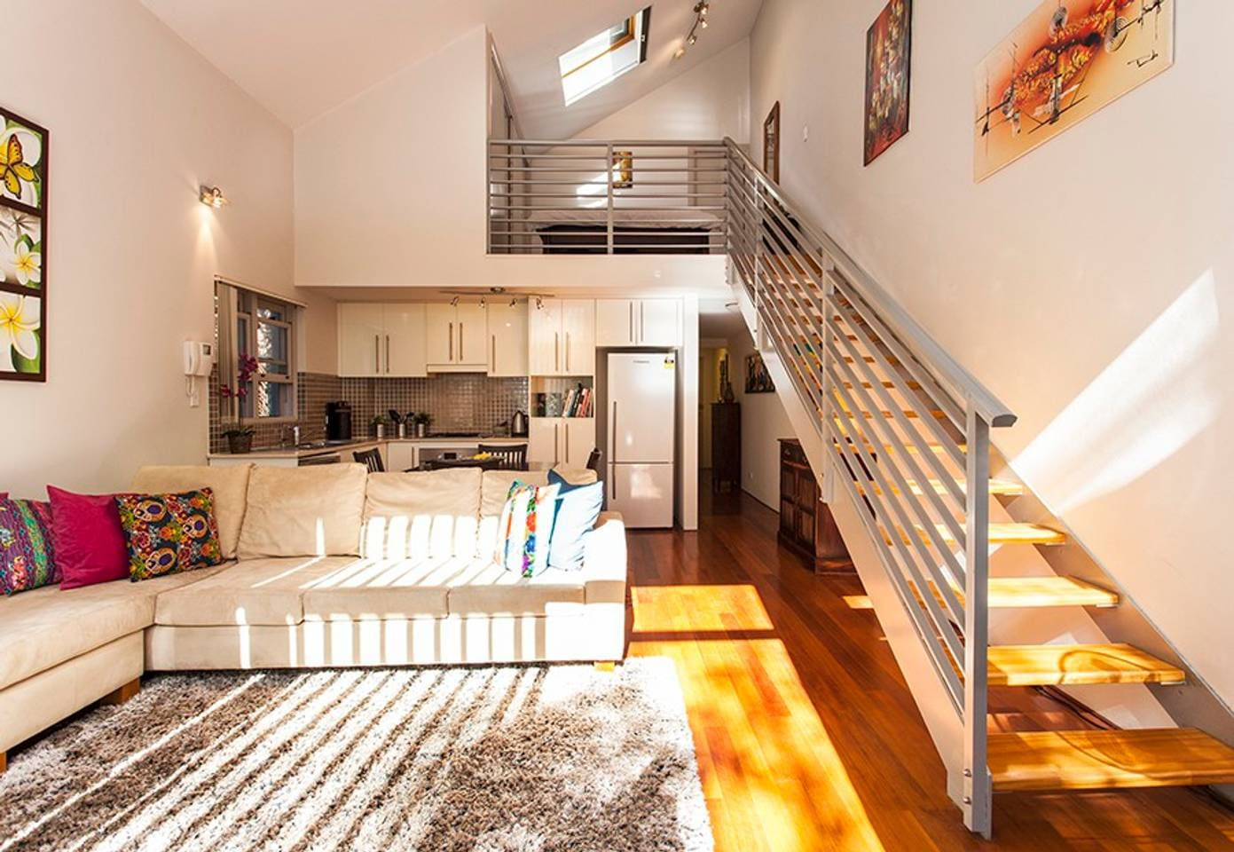 Large spacious open plan living, high ceilings