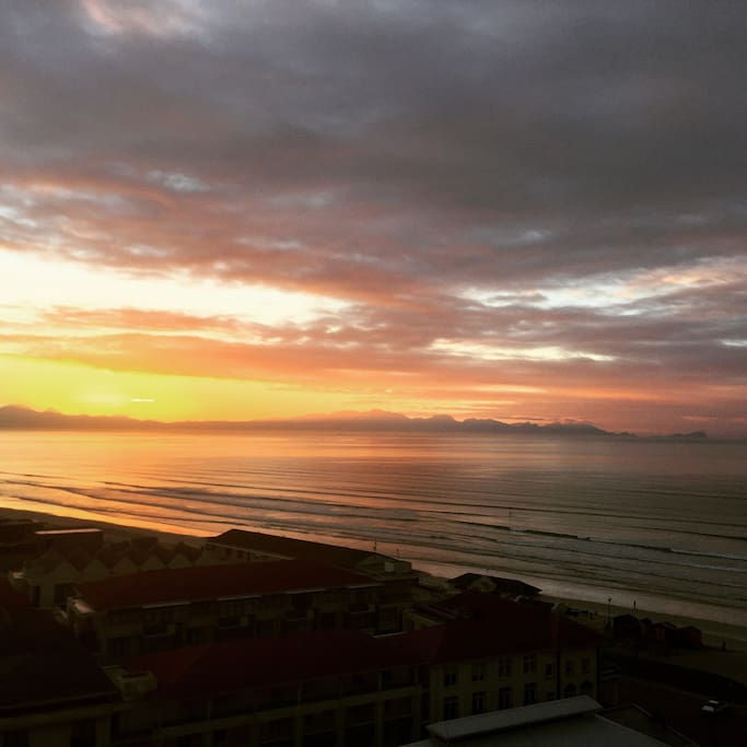 Sunrise over False Bay, from the dining area