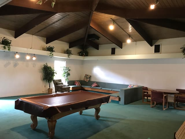 Pool table and ping pong table with books and board games as well to unwind after a long day.
