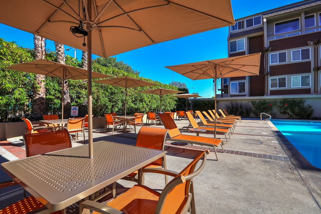 Grab a lounge chair or dine on the community patio.