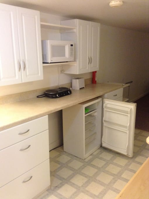 Kitchenette with fridge, microwave, and a toaster oven in the near future.