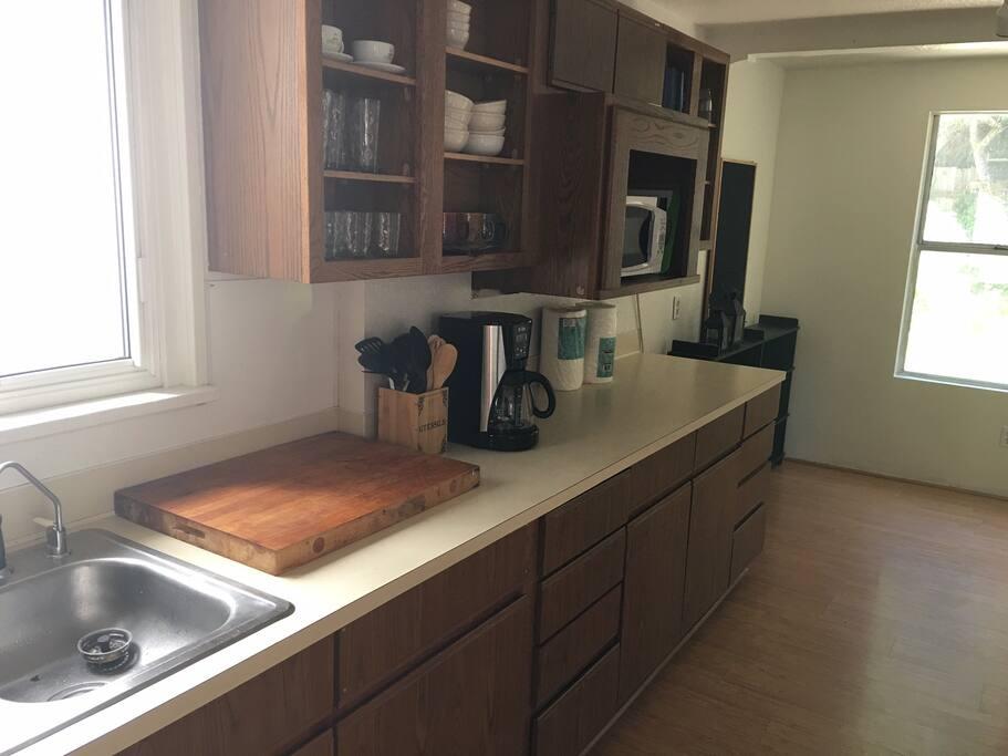 large sunny kitchen