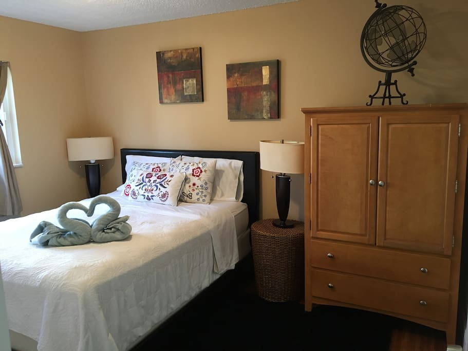 A third, single bed, can be set up for the third guest for an extra $15