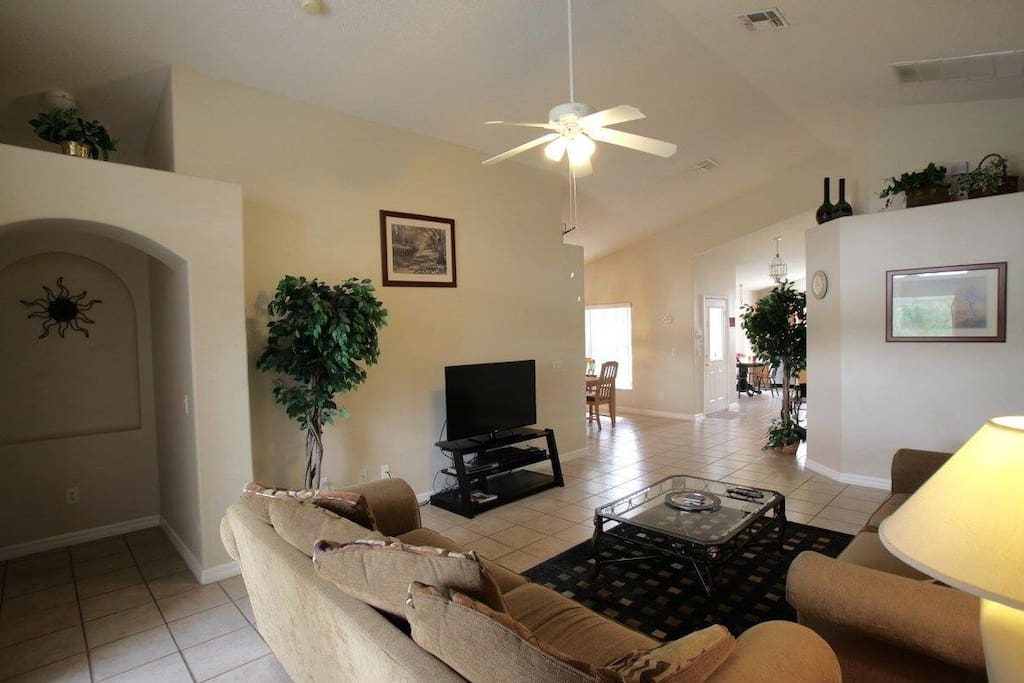 Open floor plan and view of the pool, watch the kids out there while you escape the heat