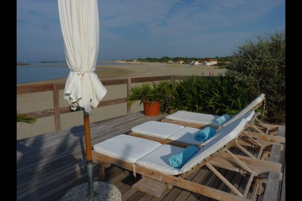 terrasse pour bains de soleil