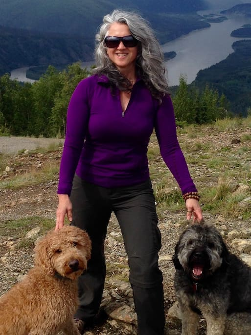 Hi, I'm Dana with my hiking buds and maintenance crew managers Sirius and Fergus.