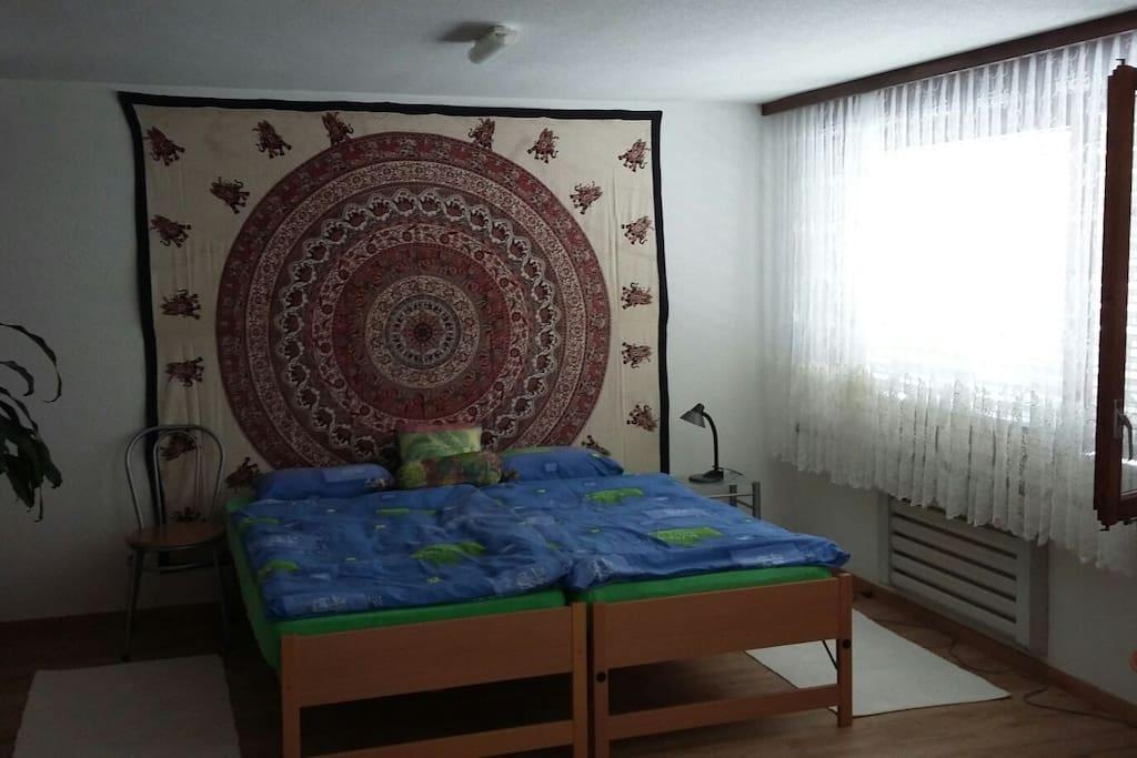 Spacious room with big windows