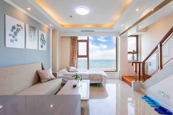 秦皇岛金梦海湾第一观一线海景精品豪华跃层家庭房(近西浴场和海底世界)