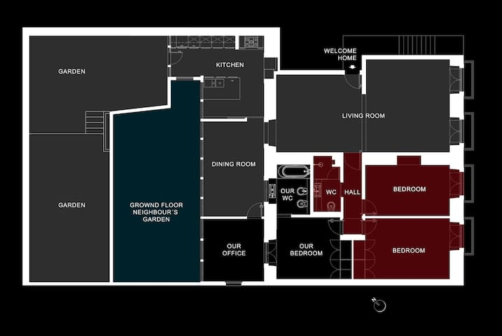 Our house blueprint to help you better understand the space.  RED = your private area > bedrooms, bathroom and hall.  BLACK = our private area > our room, bathroom and office.  GREY = common spaces >  living and dining rooms, kitchen and garden.