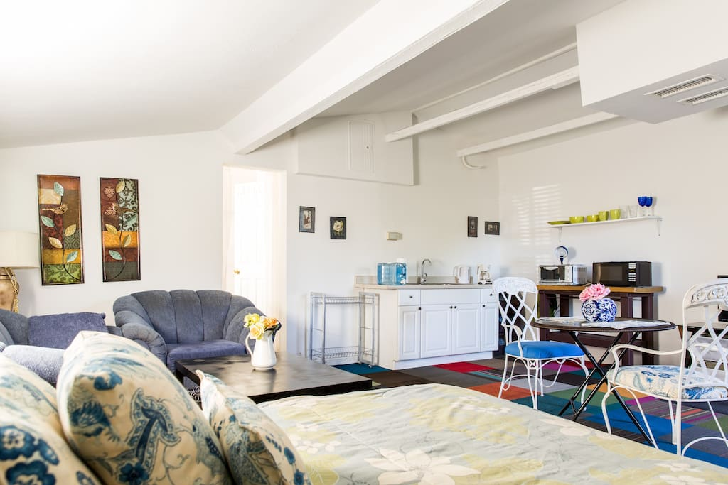 Living area including kitchenette Verified Photo