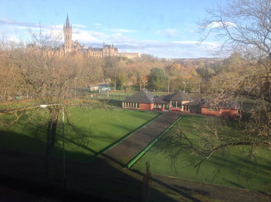 View of the park, tennis courts and bowling green from the kitchen
