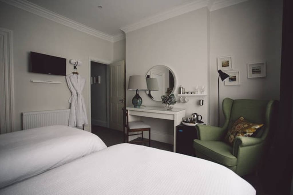 Our luxurious bedrooms. This room can be made up as Superking or twin beds, and has an ensuite bath & shower