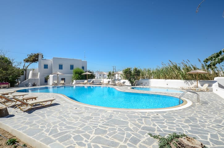House with pool view , in center Agia Anna beach