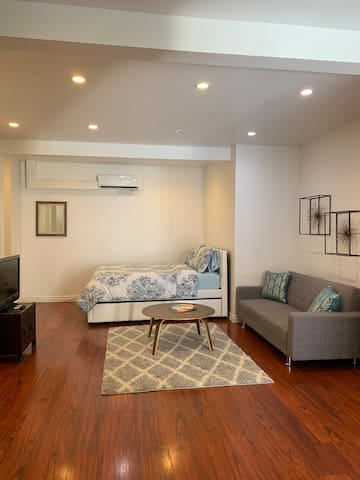 Beautiful hardwood floors and recessed lighting throughout the apartment.