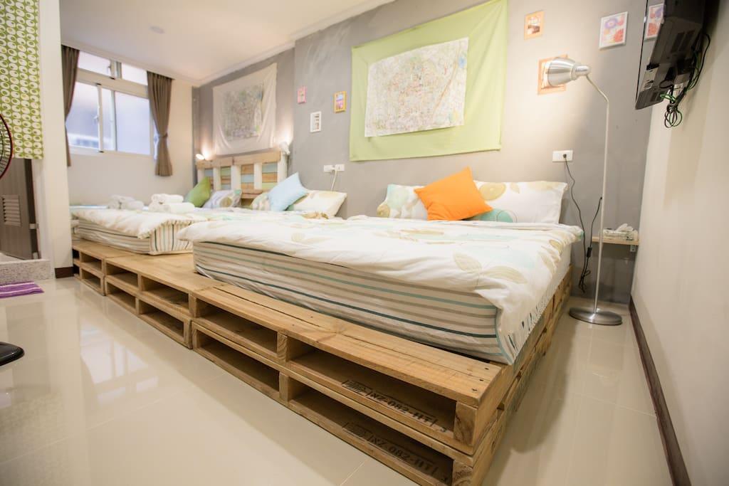 用木棧板做床底