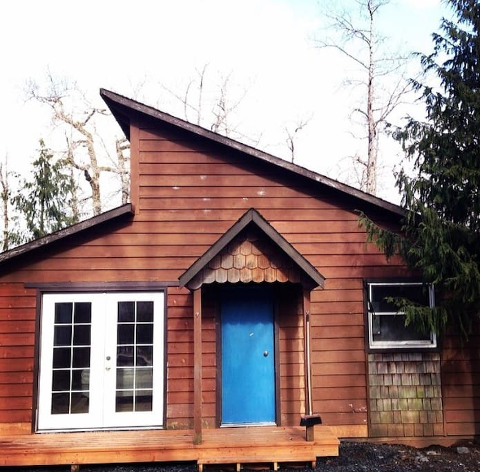 Leta House during renovation. Bright blue door!