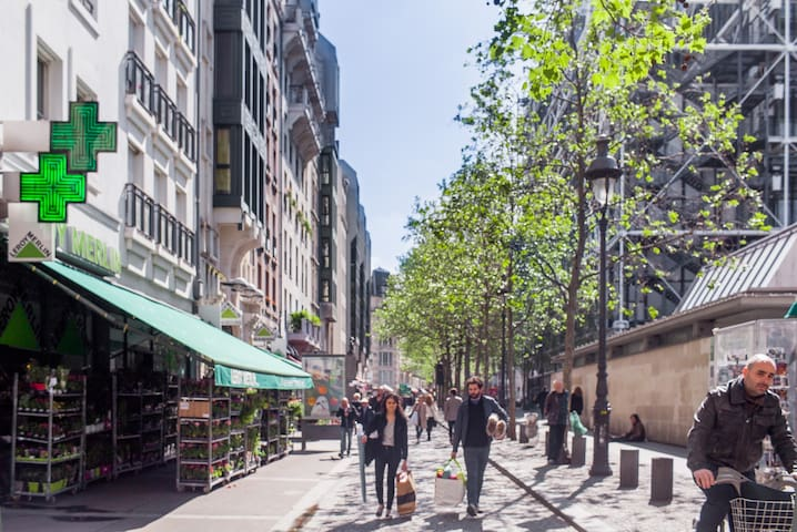 Rambuteau street: full of shopping and restaurants 2  blocks appartment