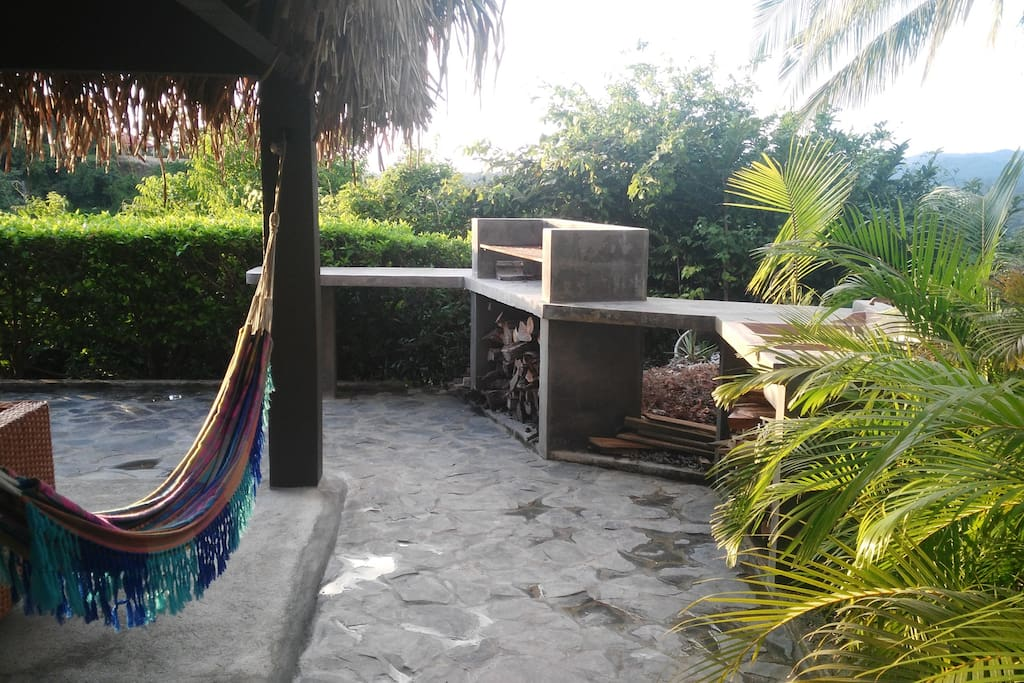Outside Kitchen with BBQ, sink and prep areas