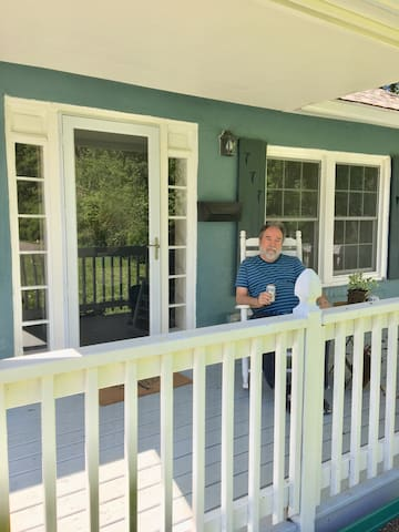 Hubby relaxing on the front porch
