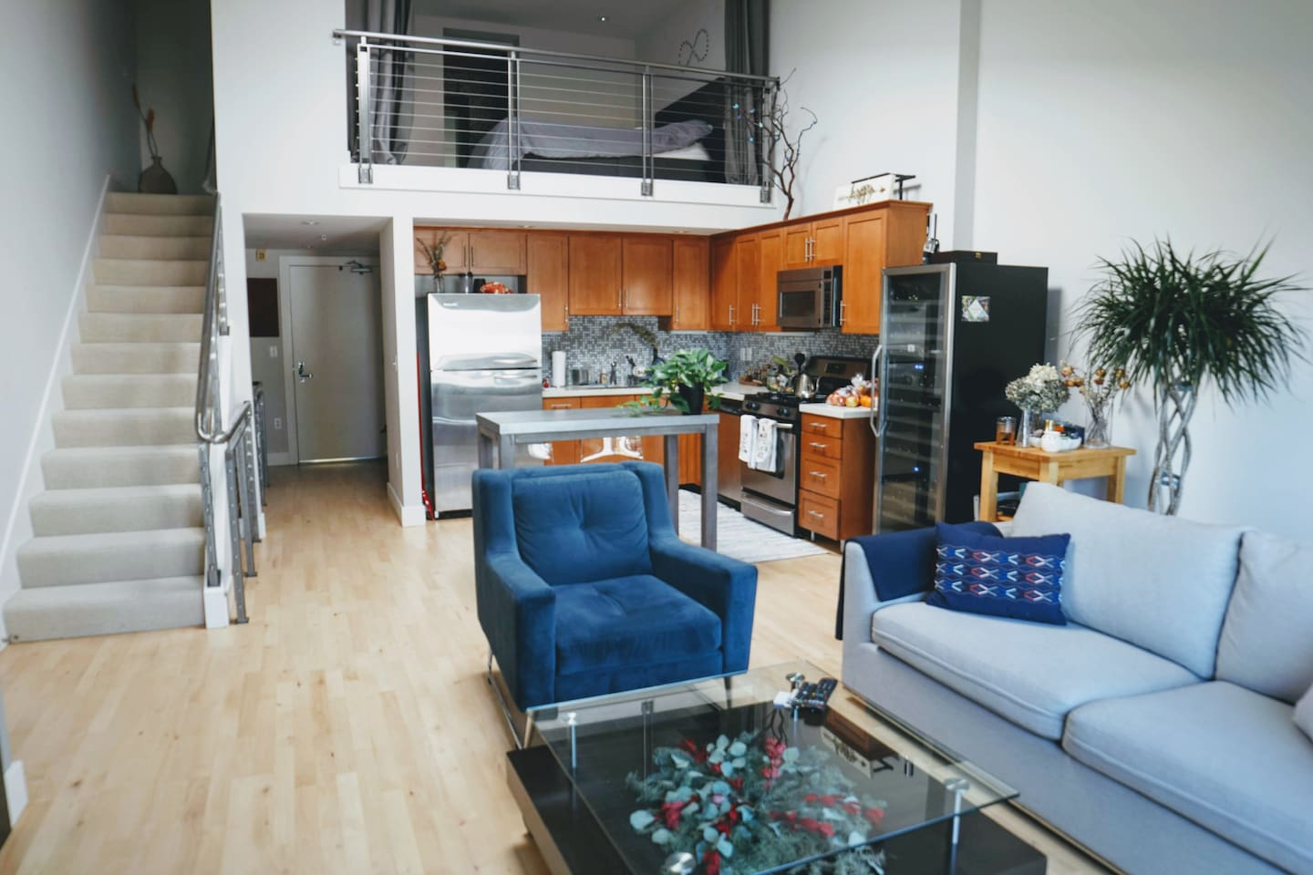 Loft space (private), kitchen/living (shared)