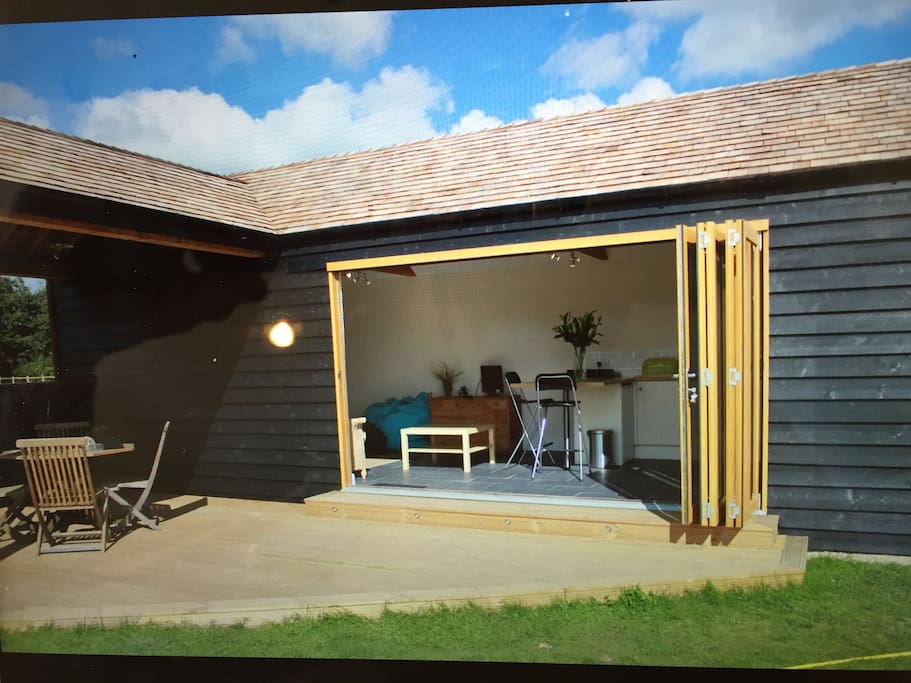 Folding doors to give a feeling of space