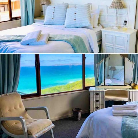 Main bedroom with panoramic seaviews. Good quality beds and crisp cotton linen for a touch of luxury.