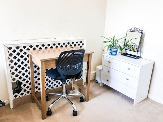 Bedroom Desk, Small Drawer Storage, Pedal Bin, 2 Plugs with adapters & extensions available