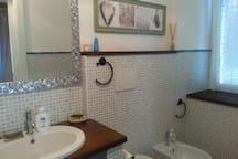 bagno con doccia, lavabo, bidet, wc, lavatrice