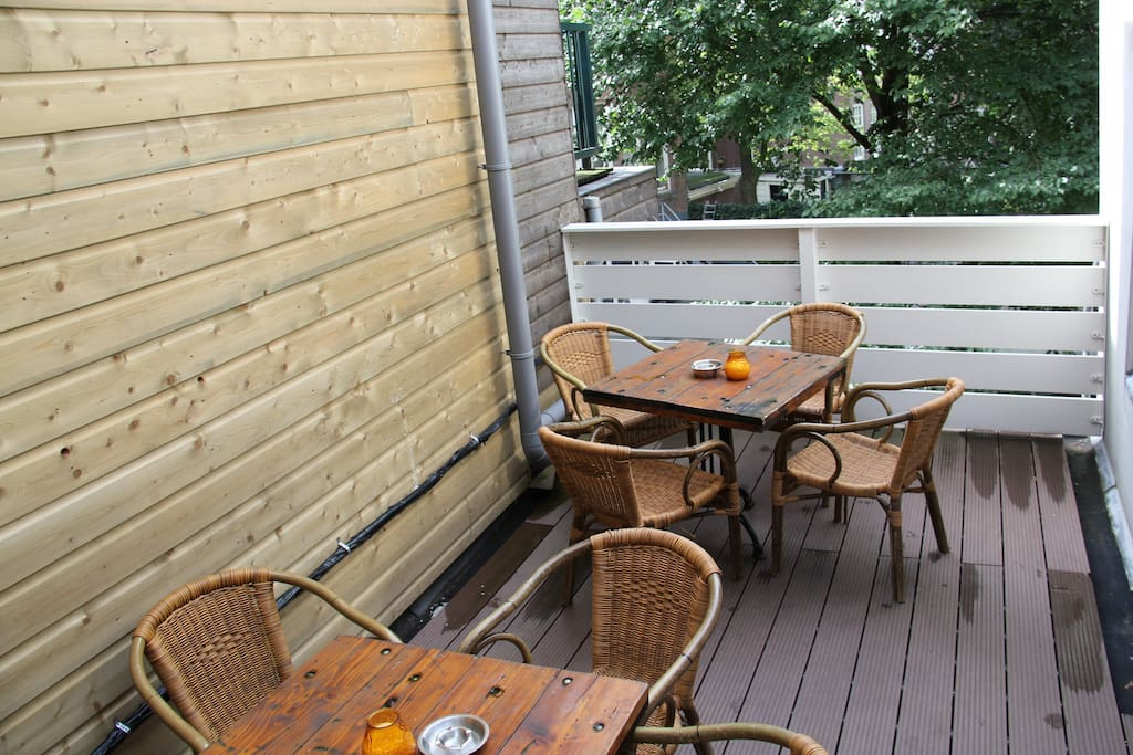 terrace overlooking quiet gardens