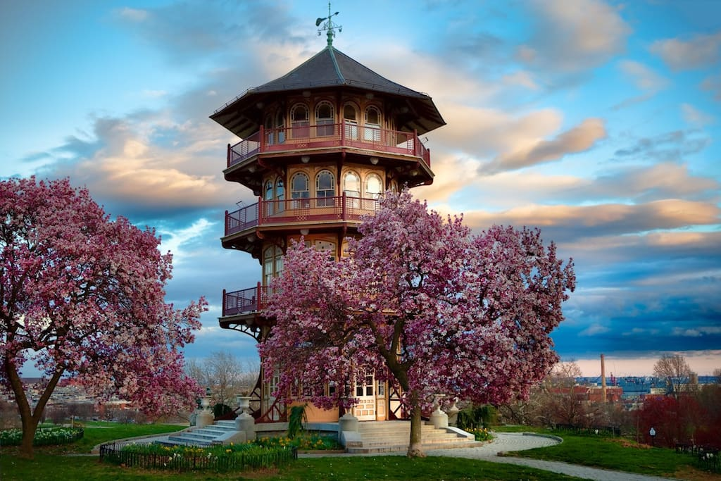 Patterson Park Pagoda across the street