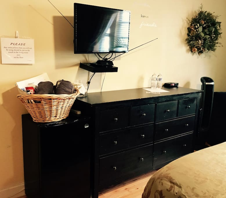 Full dresser for your storage needs. Welcome basket, HEMI Rotating fan with remote, Personal Fridge, Flat/SMART TV