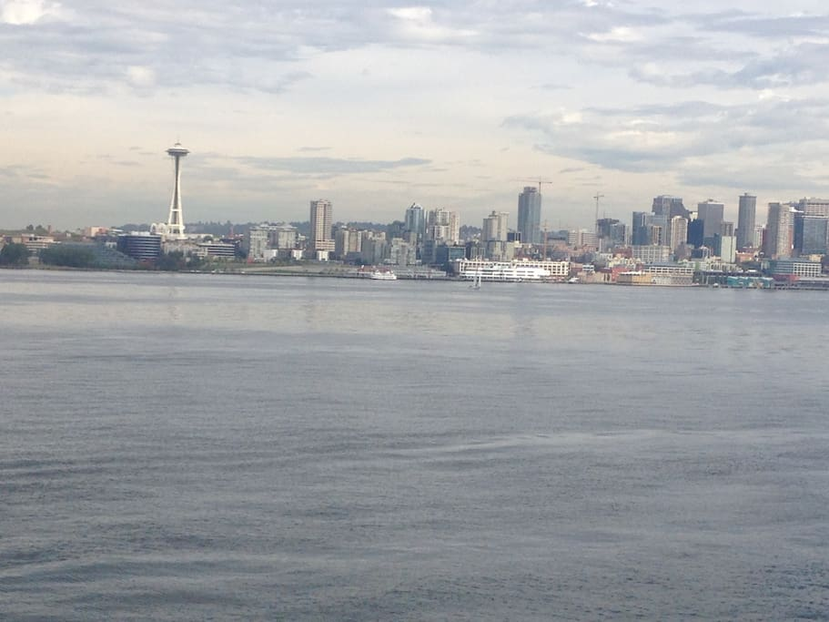 View of downtown Seattle and Puget Sound from the front of the cottage