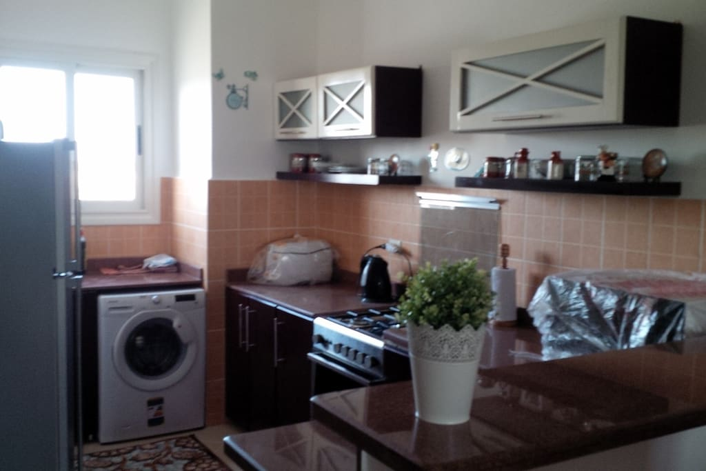 Cozy kitchen with all appliances needed for easy life (cooker, washing machine, microwave, refrigerator, and deep fryer)