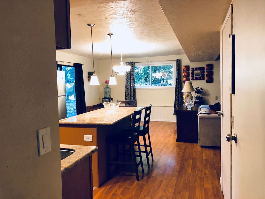 After you enter, on your right will be the open kitchen and living room area