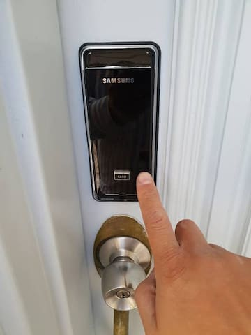Keyless Smart Lock: refer to received check-in instructions for how-to