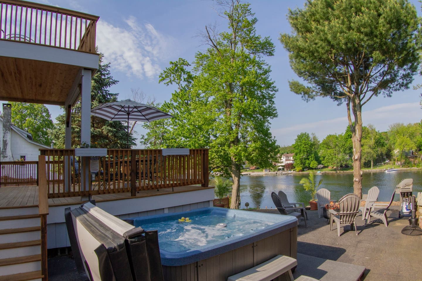 Deck, Hot tub and Fire Pit with lake view.